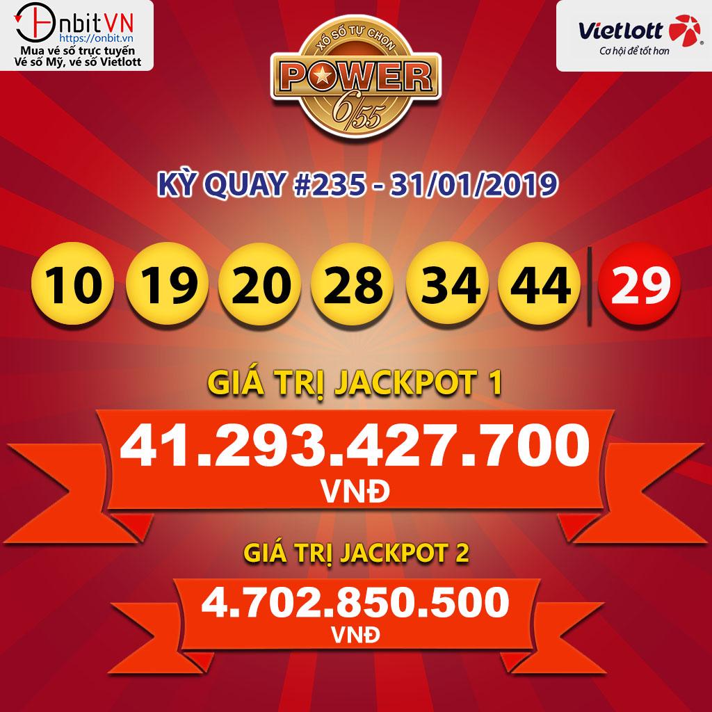 Cập nhật kết quả xổ số Vietlott Power6/55 ngày 31/01/2019