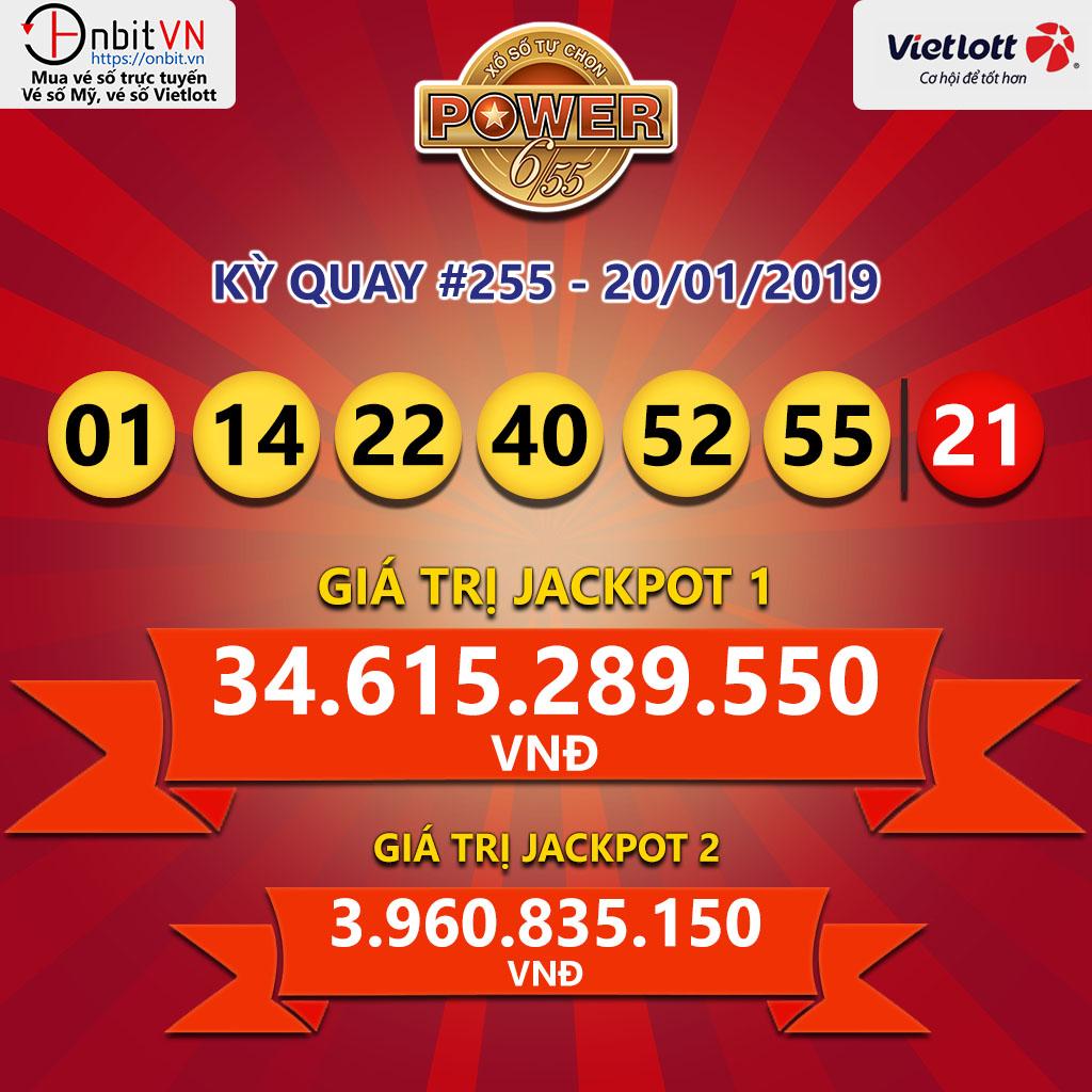 Cập nhật kết quả xổ số Vietlott Power6/55 ngày 22/01/2019