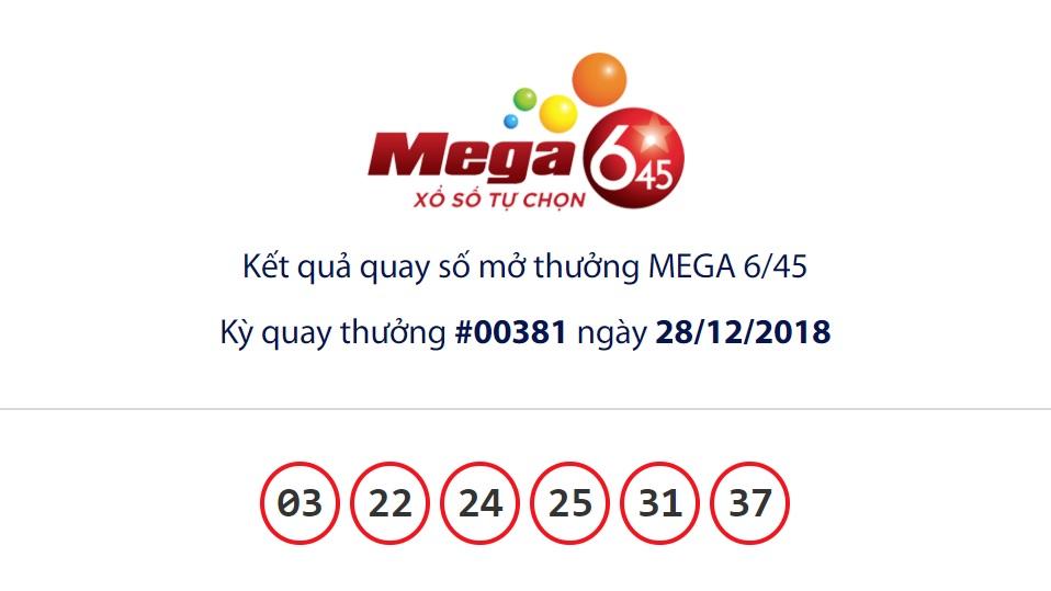 Cập nhật kết quả xổ số Vietlott Mega6/45 ngày 28/12/2018