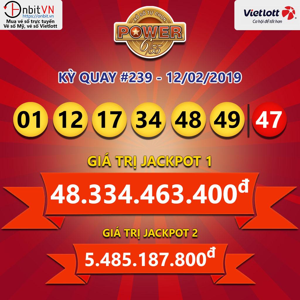 Cập nhật kết quả xổ số Vietlott Power6/55 ngày 12/02/2019