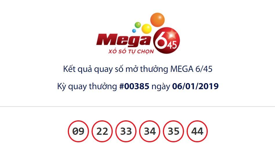 Cập nhật kết quả xổ số Vietlott Mega6/45 ngày 06/01/2019