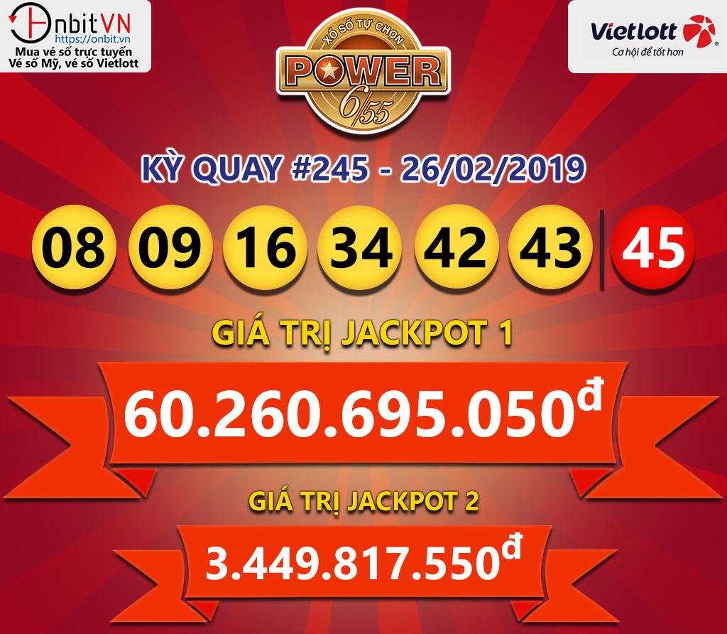 Cập nhật kết quả xổ số Vietlott Power6/55 ngày 26/02/2019