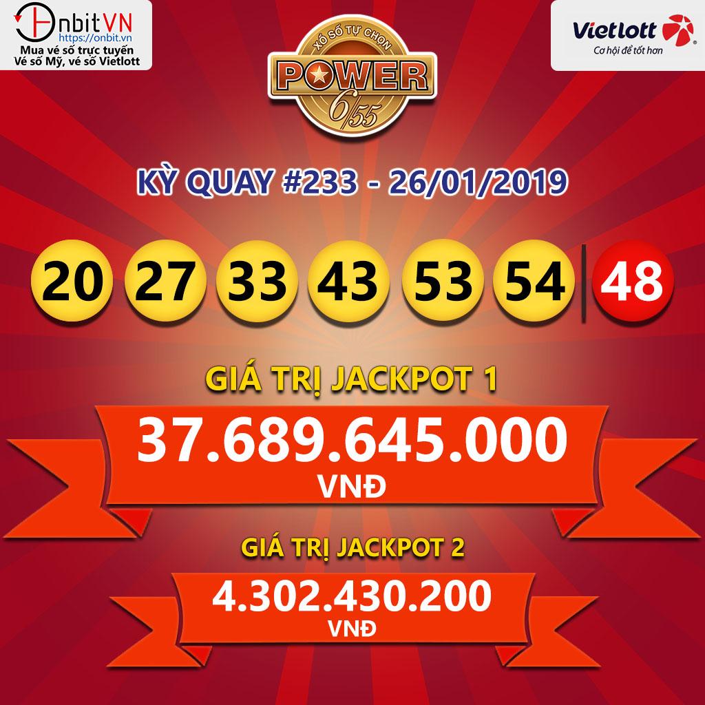 Cập nhật kết quả xổ số Vietlott Power6/55 ngày 26/01/2019