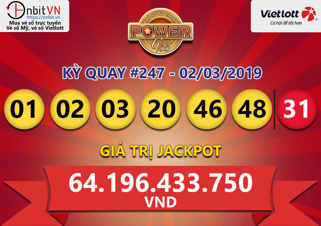 Cập nhật kết quả xổ số Vietlott Power6/55 ngày 02/03/2019