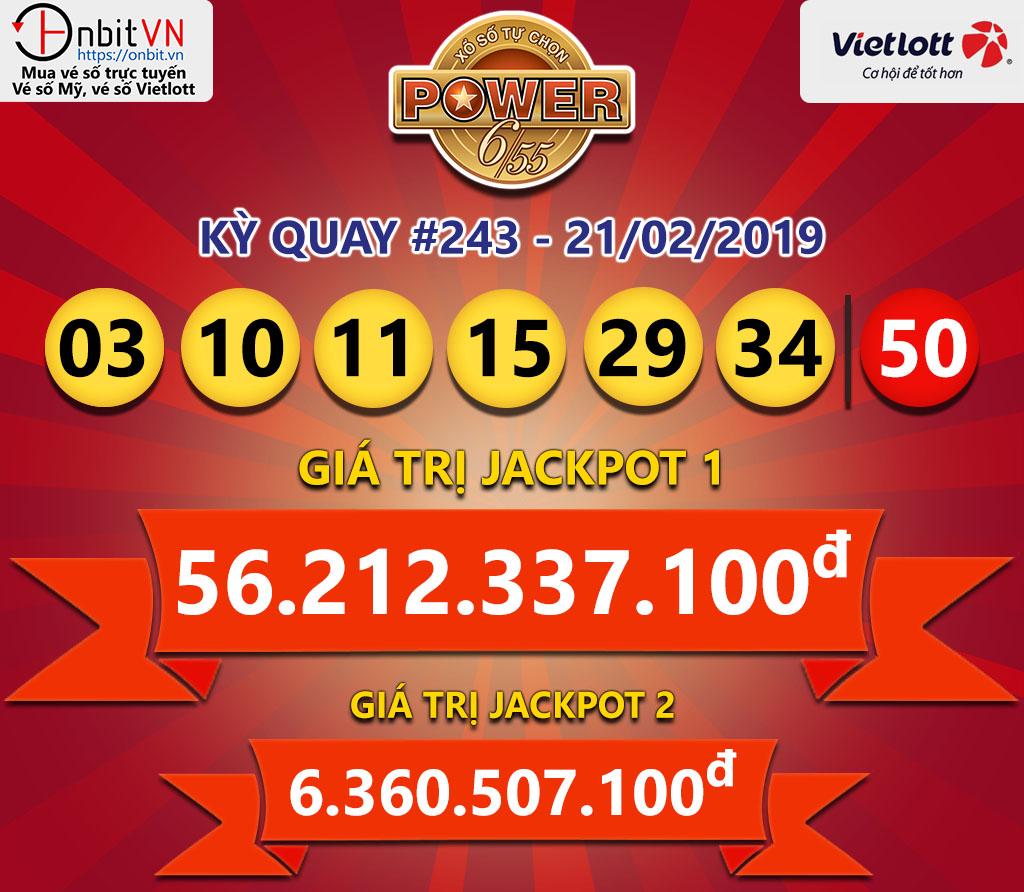 Cập nhật kết quả xổ số Vietlott Power6/55 ngày 21/02/2019