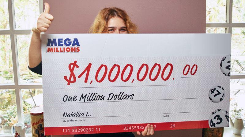 Mua vé số trực tuyến Nataliia từ Ukraine trúng 1 triệu đô la của giải US Mega Millions