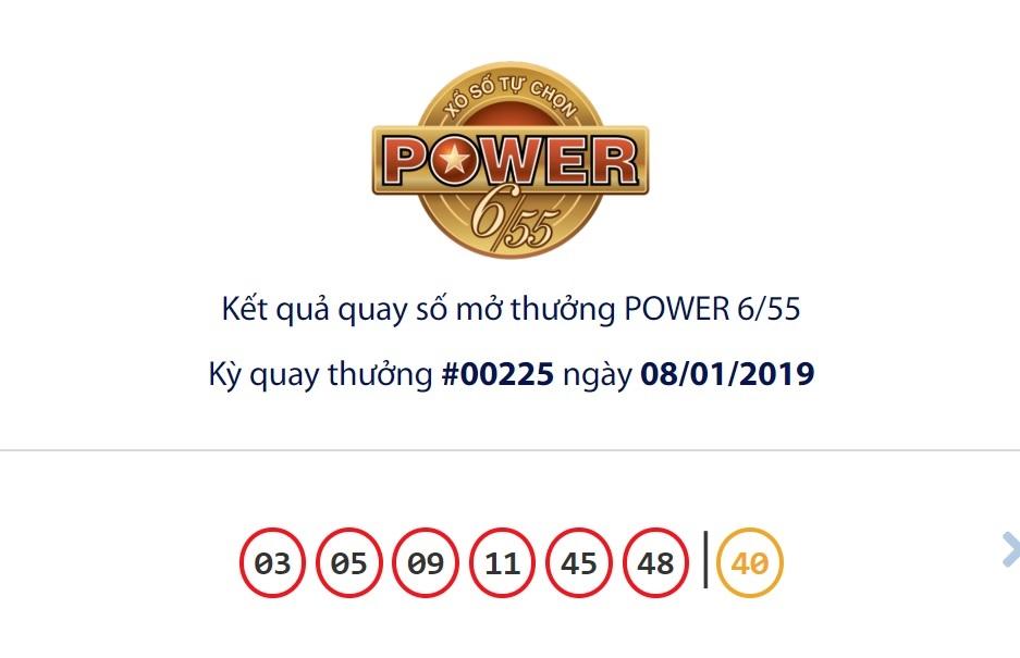 Cập nhật kết quả xổ số Vietlott Power6/55 ngày 08/01/2019
