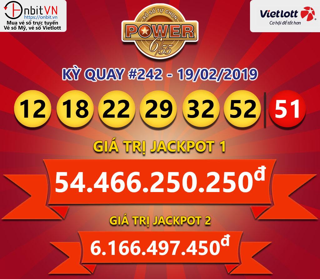 Cập nhật kết quả xổ số Vietlott Power6/55 ngày 19/02/2019