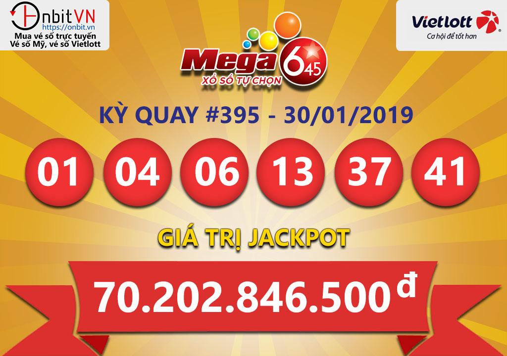 Cập nhật kết quả xổ số Vietlott Mega6/45 ngày 30/01/2019