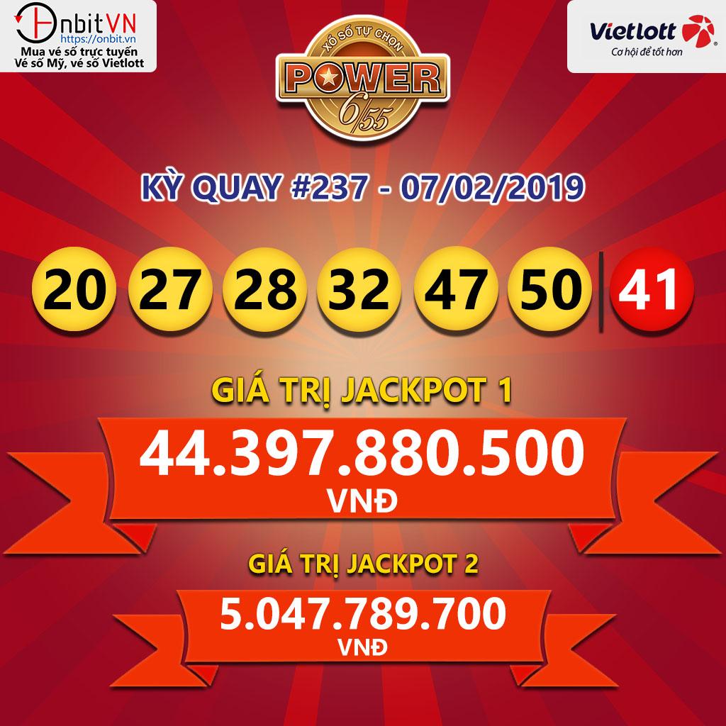 Cập nhật kết quả xổ số Vietlott Power6/55 ngày 07/02/2019