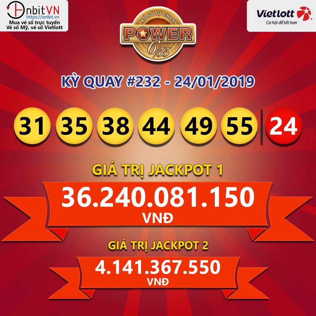 Cập nhật kết quả xổ số Vietlott Power6/55 ngày 24/01/2019