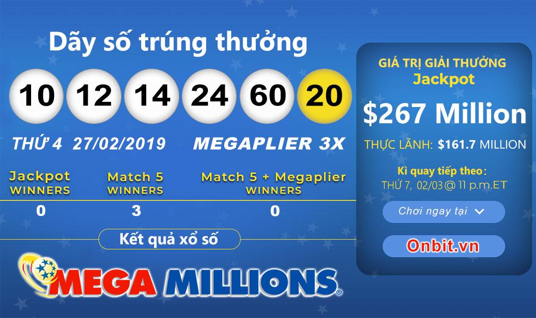 Cập nhật kết quả xổ số U.S MegaMillions ngày 27/02/2019