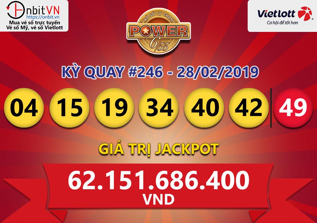 Cập nhật kết quả xổ số Vietlott Power6/55 ngày 28/02/2019