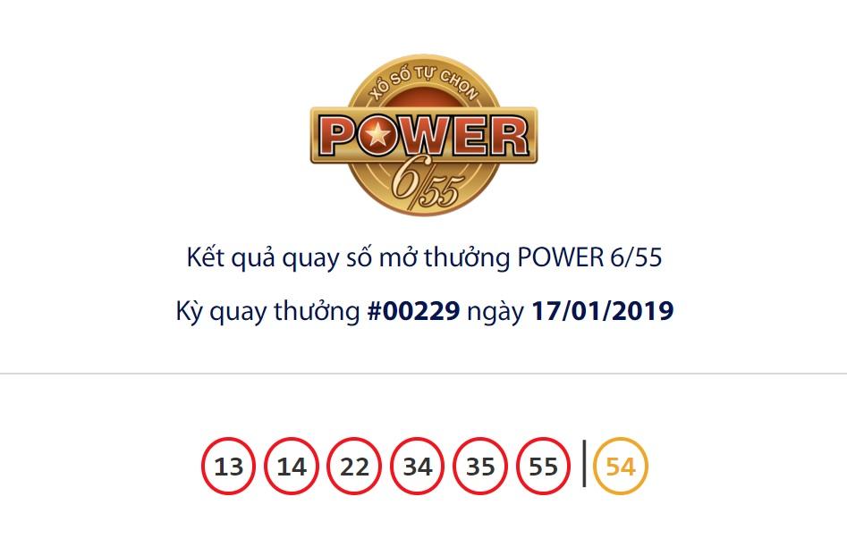 Cập nhật kết quả xổ số Vietlott Power6/55 ngày 17/01/2019