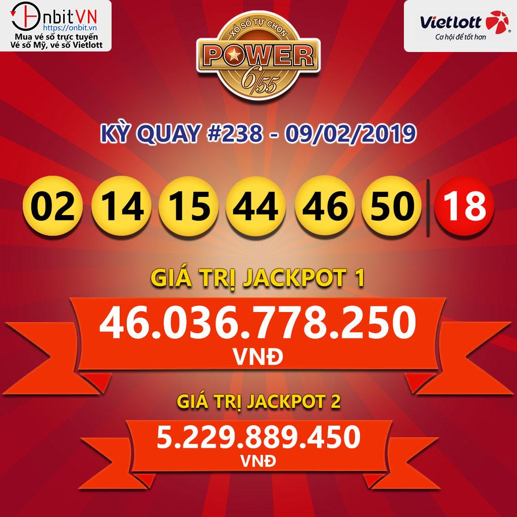 Cập nhật kết quả xổ số Vietlott Power6/55 ngày 09/02/2019
