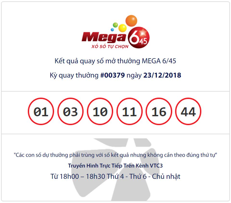 Cập nhật kết quả xổ số Vietlott Mega6/45 ngày 23/12/2018