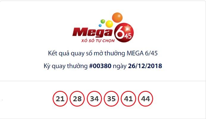 Cập nhật kết quả xổ số Vietlott Mega6/45 ngày 26/12/2018