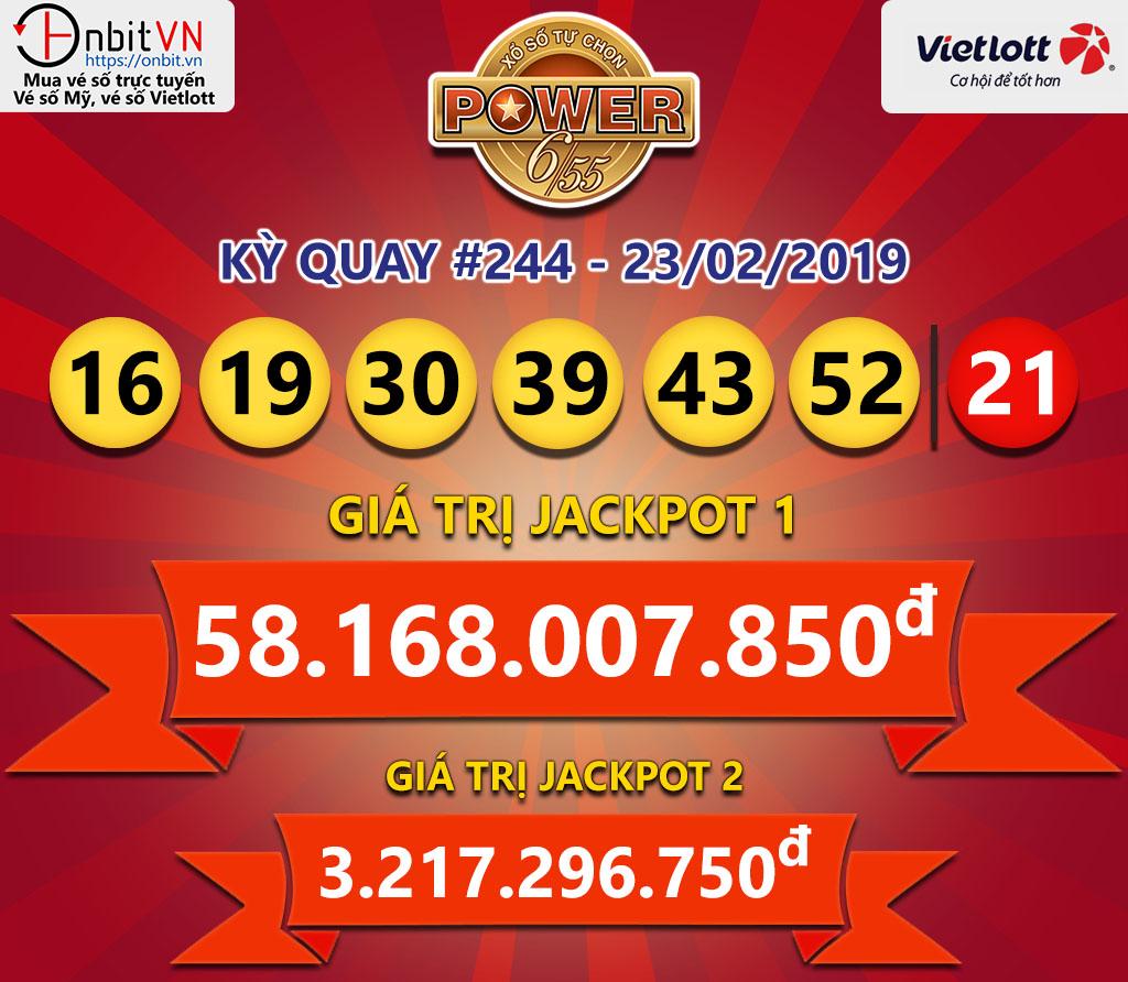 Cập nhật kết quả xổ số Vietlott Power6/55 ngày 23/02/2019