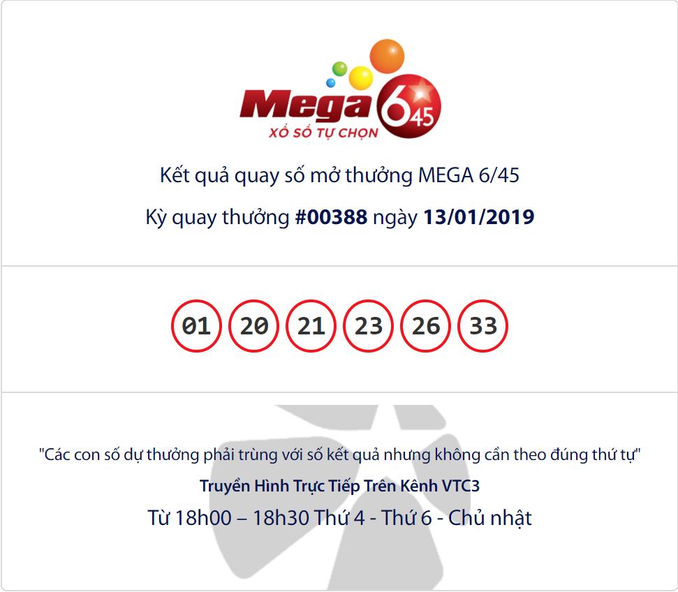 Cập nhật kết quả xổ số Vietlott Mega6/45 ngày 13/01/2019