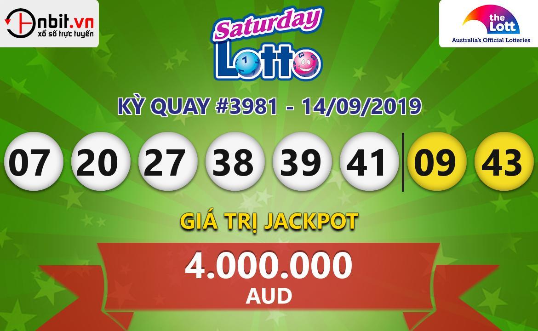 Cập nhật kết quả xổ số Saturday Lotto ngày 14/09/2019