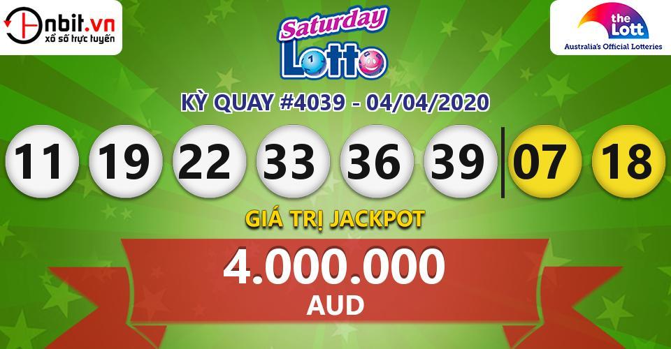 Cập nhật kết quả xổ số Úc Saturday Lotto hôm nay ngày 04/04/2020