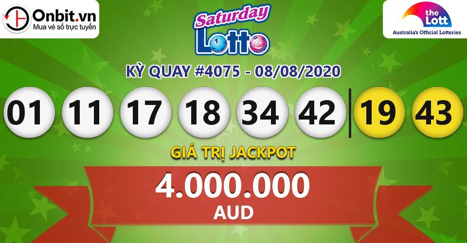 Cập nhật kết quả xổ số Úc Saturday Lotto hôm nay ngày 08/08/2020