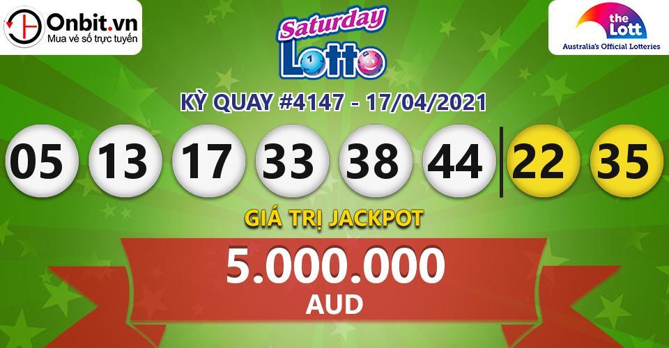 Cập nhật kết quả xổ số Úc Saturday Lotto hôm nay ngày 17/04/2021