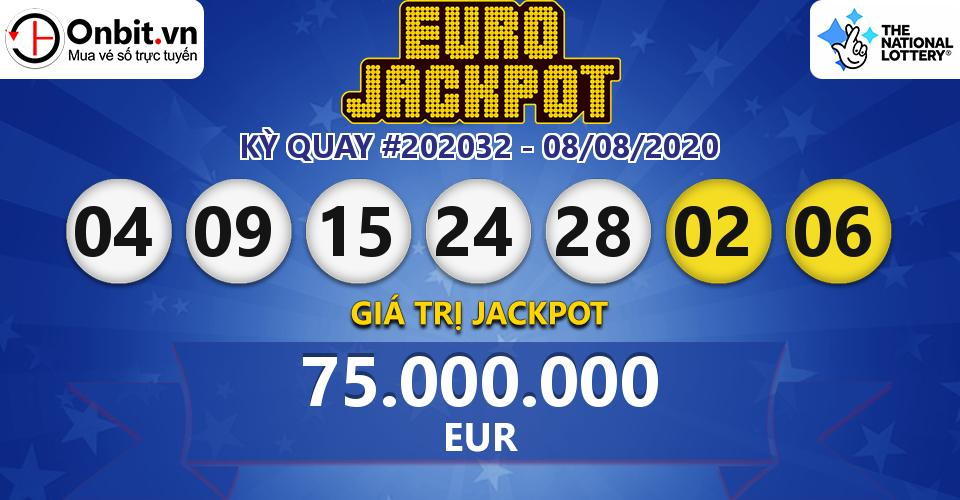 Cập nhật kết quả xổ số châu Âu EuroJackpot hôm nay ngày 08/08/2020