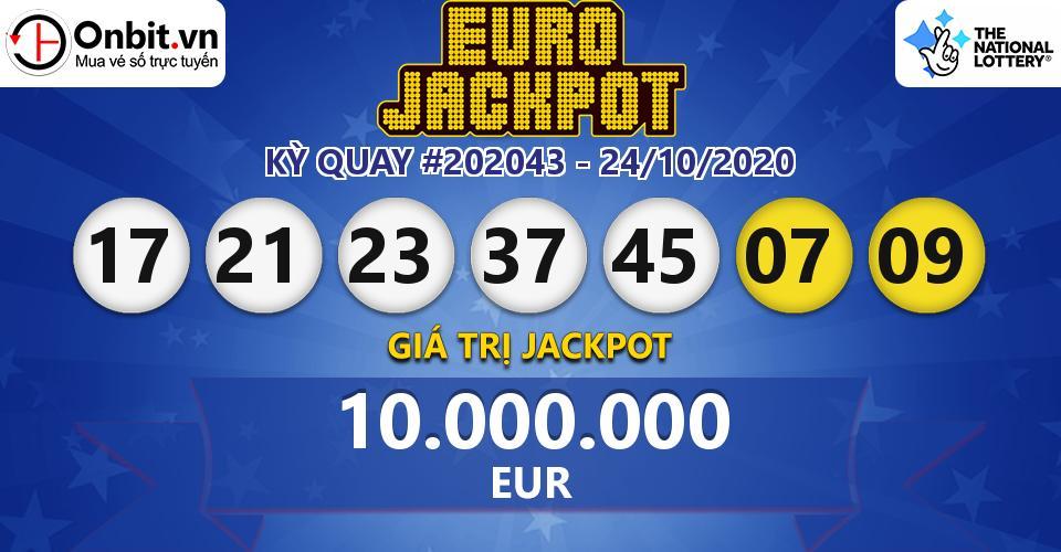 Cập nhật kết quả xổ số châu Âu EuroJackpot hôm nay ngày 24/10/2020