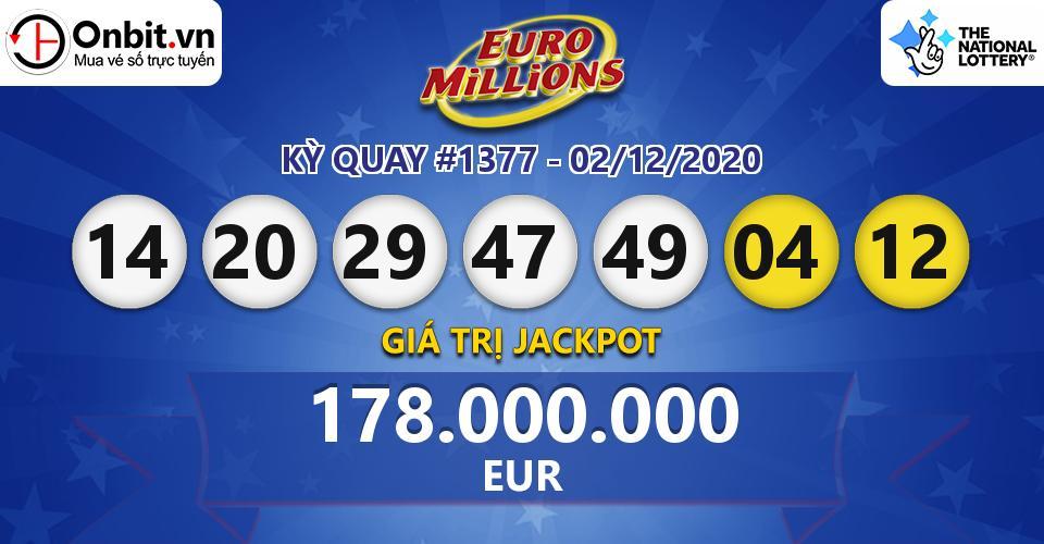 Cập nhật kết quả xổ số châu Âu EuroMillions hôm nay ngày 02/12/2020