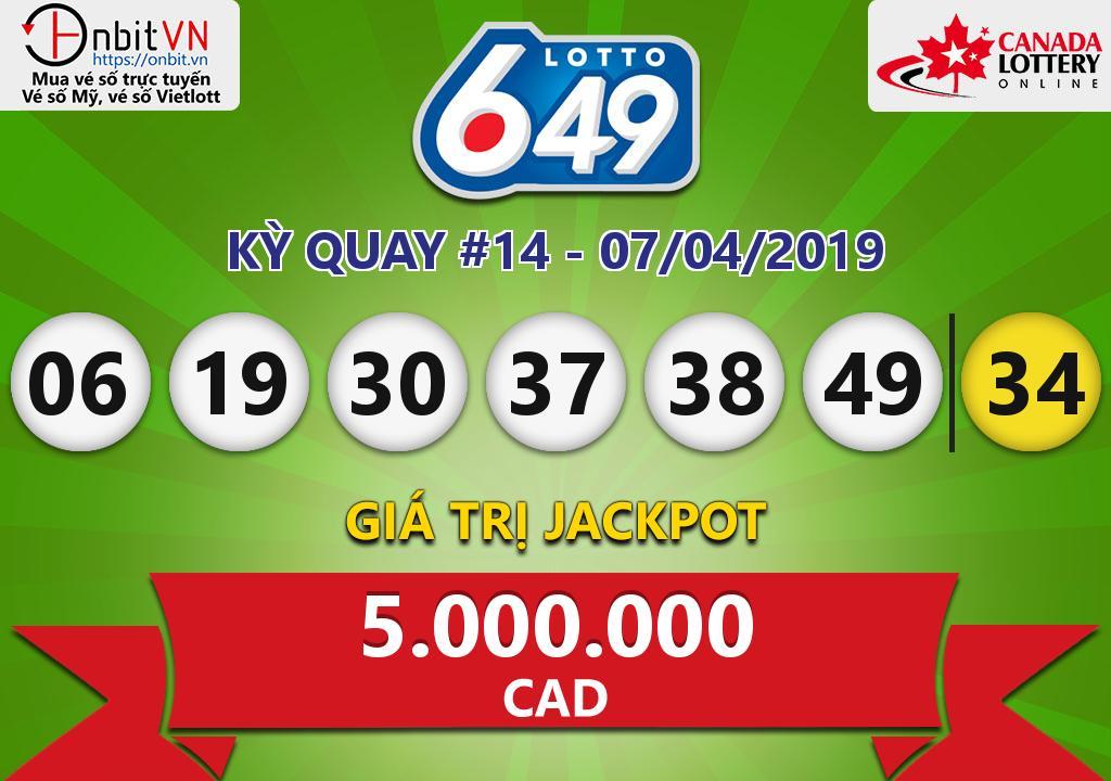 Cập nhật kết quả xổ số Canada-Lotto6/49 ngày 07/04/2019