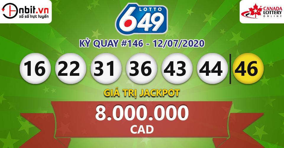 Cập nhật kết quả xổ số Canada Lotto 6/49 hôm nay ngày 12/07/2020