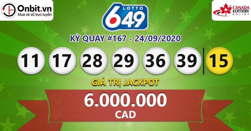 Cập nhật kết quả xổ số Canada Lotto 6/49 hôm nay ngày 24/09/2020