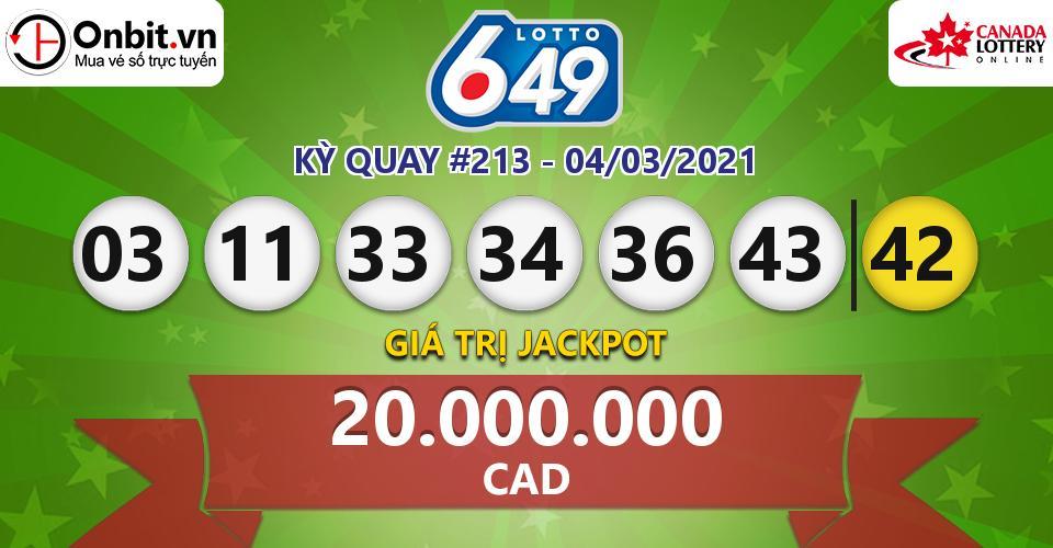 Cập nhật kết quả xổ số Canada Lotto 6/49 hôm nay ngày 04/03/2021
