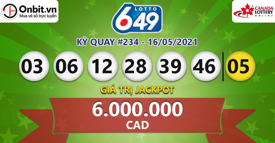 Cập nhật kết quả xổ số Canada Lotto 6/49 hôm nay ngày 16/05/2021