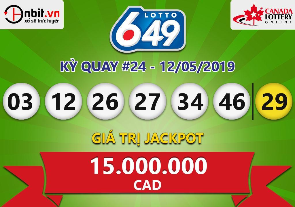 Cập nhật kết quả xổ số Canada-Lotto6/49 ngày 12/05/2019