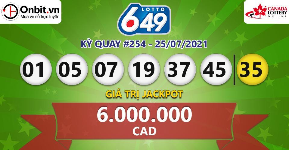 Cập nhật kết quả xổ số Canada Lotto 6/49 hôm nay ngày 25/07/2021