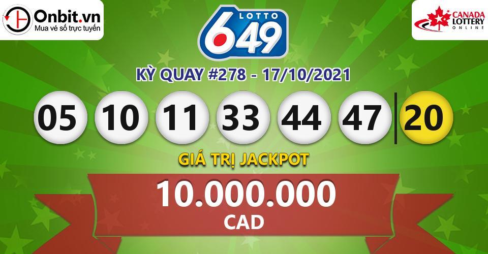 Cập nhật kết quả xổ số Canada Lotto 6/49 hôm nay ngày 17/10/2021