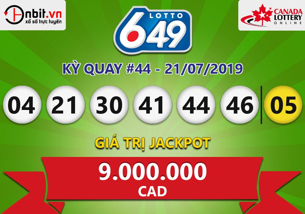 Cập nhật kết quả xổ số Canada-Lotto6/49 ngày 21/07/2019