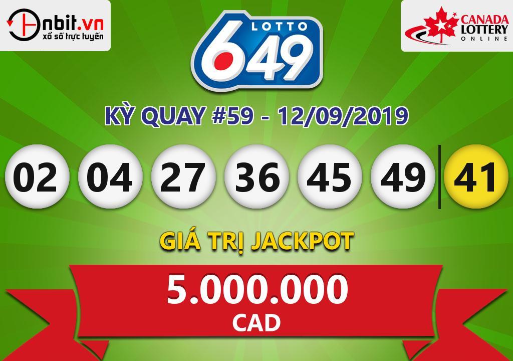 Cập nhật kết quả xổ số Canada Lotto 6/49 ngày 12/09/2019