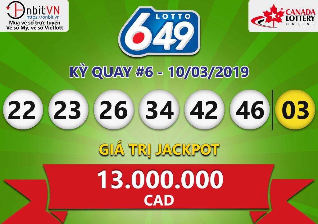 Cập nhật kết quả xổ số Canada-Lotto6/49 ngày 10/03/2019