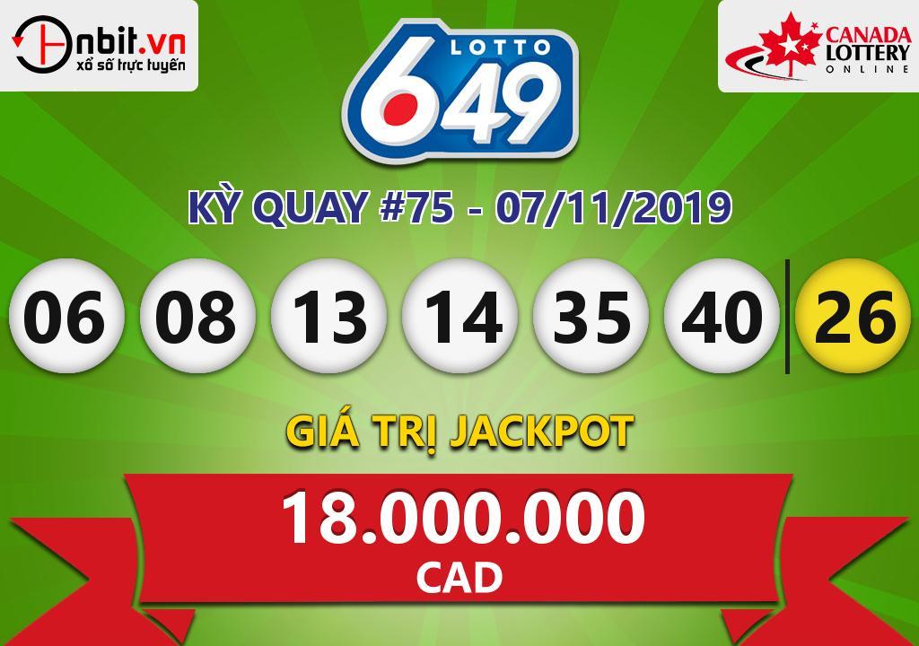 Cập nhật kết quả xổ số Canada Lotto 6/49 ngày 07/11/2019