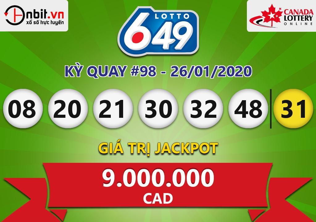 Cập nhật kết quả xổ số Canada Lotto 6/49 ngày 26/01/2020