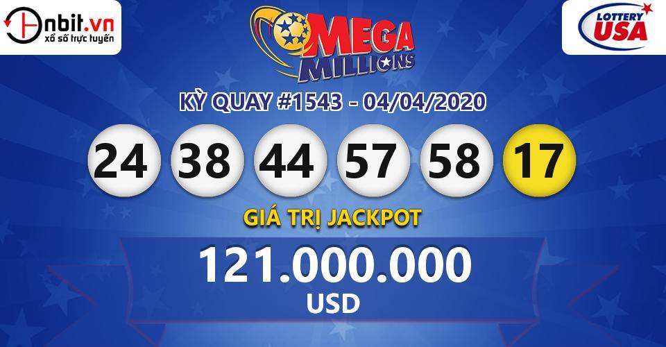Cập nhật kết quả xổ số Mỹ Mega Millions hôm nay ngày 04/04/2020
