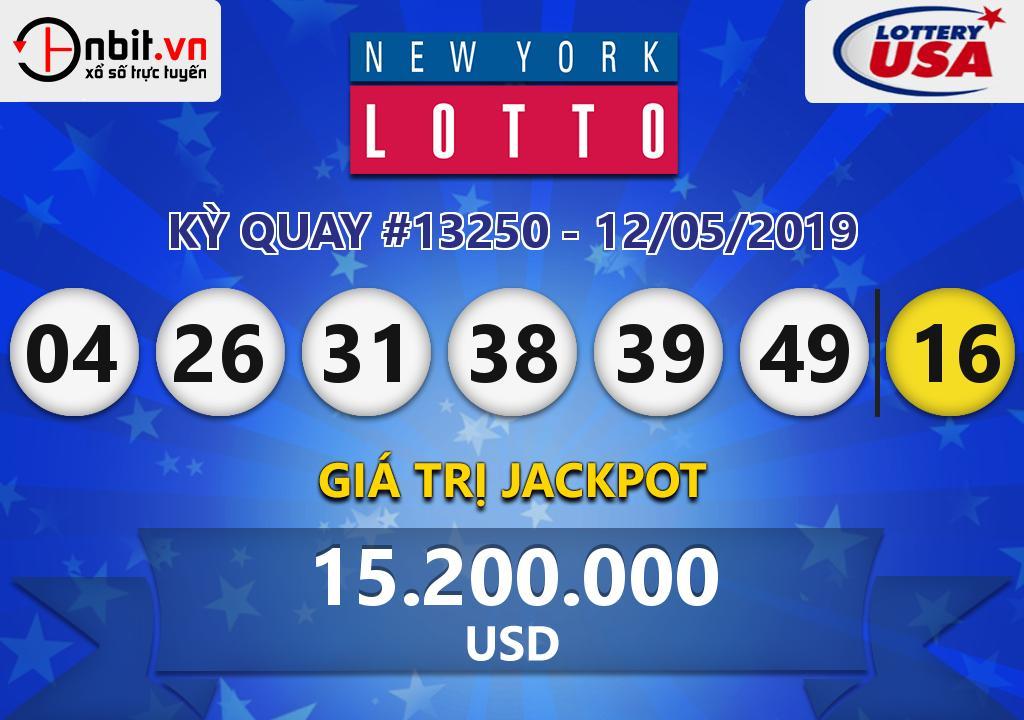 Cập nhật kết quả xổ số New York Lotto ngày 12/05/2019