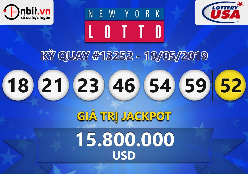 Cập nhật kết quả xổ số New York Lotto ngày 19/05/2019