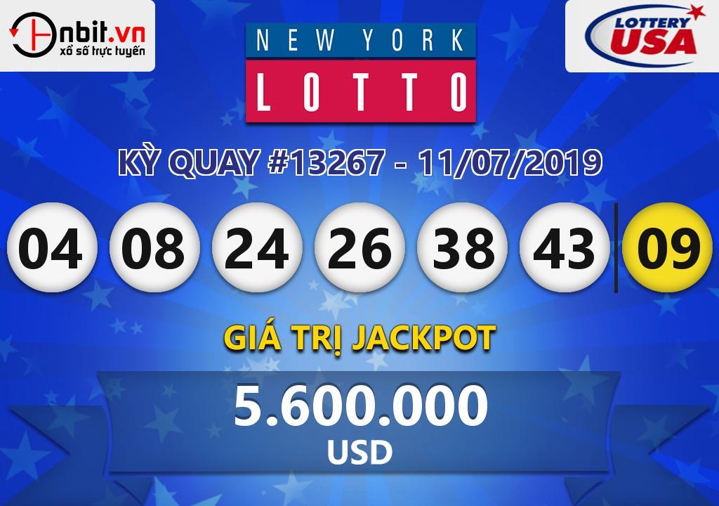 Cập nhật kết quả xổ số New York Lotto ngày 11/07/2019