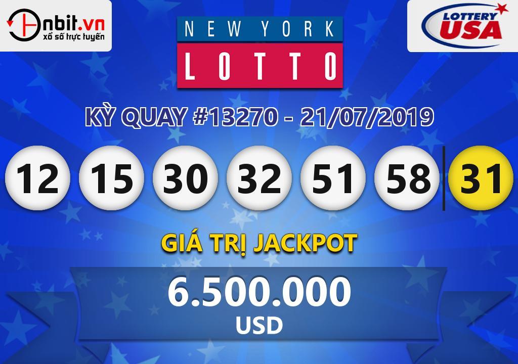 Cập nhật kết quả xổ số New York Lotto ngày 21/07/2019