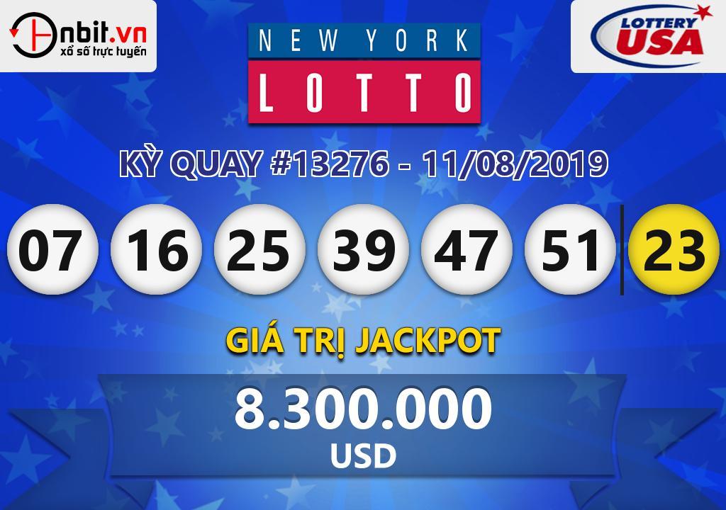 Cập nhật kết quả xổ số New York Lotto ngày 11/08/2019