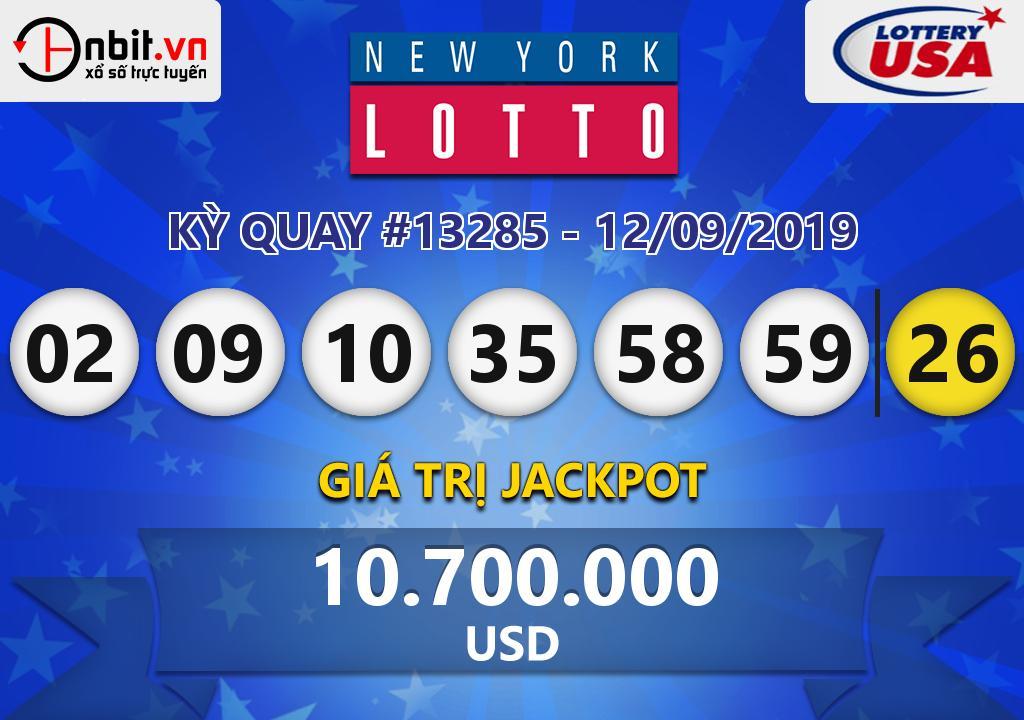 Cập nhật kết quả xổ số New York Lotto ngày 12/09/2019